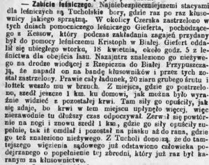 Przyjaciel - 27 października 1881 roku - zabójstwo leśniczego między Białą a Rzepiczną