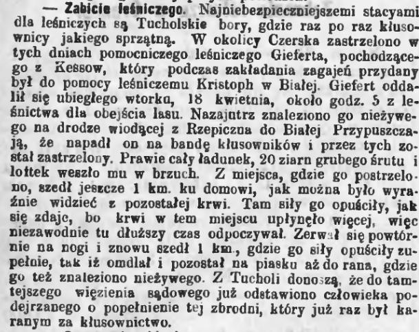 Zabójstwo leśniczego na drodze z Rzepicznej do Białej – 1881 r.