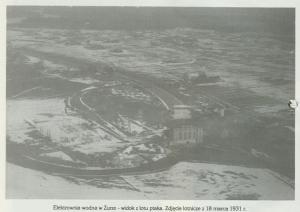 Elektrownia wodna w Żurze - widok z lotu ptaka, rok 1931