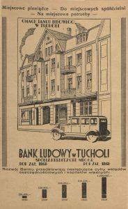 Bank Ludowy w Tucholi (dzisiejszy Bank Spółdzielczy w Tucholi) - reklama z roku 1939