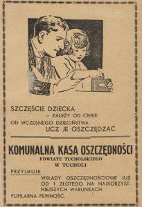 Komunalna Kasa Oszczędności Powiatu Tucholskiego - reklama z 1939 roku