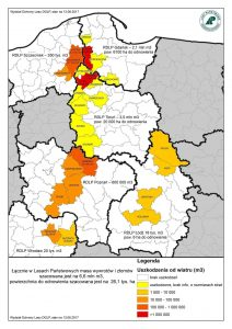 Mapa zniszczeń po nawałnicy - źródło: Lasy Państwowe
