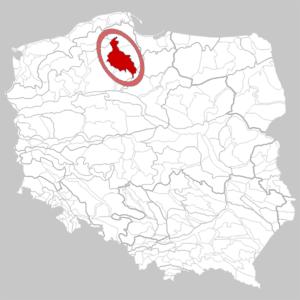 Mezoregion Bory Tucholskie - granice Borów Tucholskich w ujęciu geograficznym. fot. Wikipedia Wikimedia Commons, CC-BY-SA 3.0